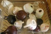 5 sets of tea ware well used, post saturday night session...